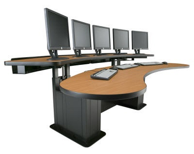 The Banana Console is capable of accommodating numerous monitors, and fosters efficiency without sacrificing comfort